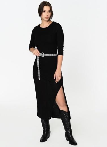 Loves You Yırtmaçlı Kaşkorse Elbise Siyah